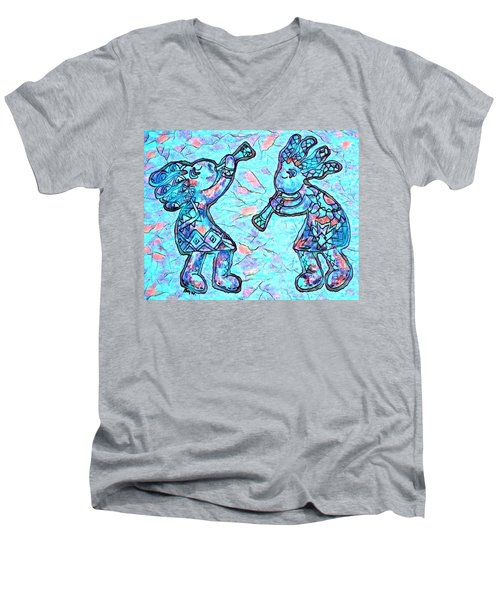 2 Kokopellis In Turquoise Men's V-Neck T-Shirt