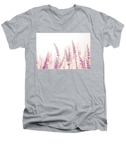 Men's V-Neck T-Shirt featuring the photograph Lavender Flower In The Garden,park,backyard,meadow Blossom In Th by Jingjits Photography