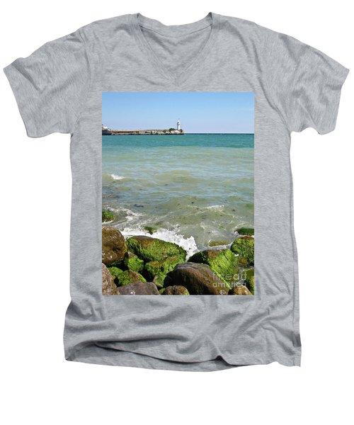 Lighthouse In Sea Men's V-Neck T-Shirt
