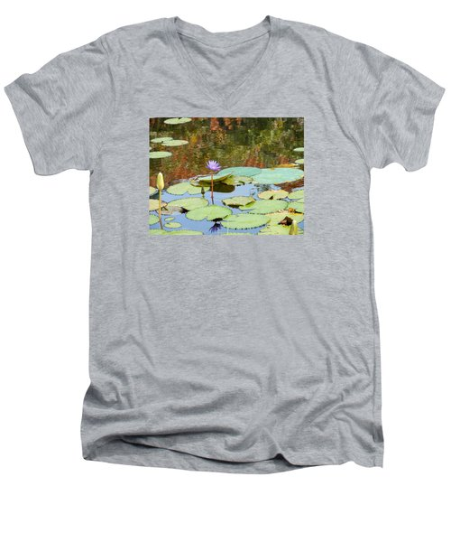 Men's V-Neck T-Shirt featuring the photograph Lily Pond by Kay Gilley