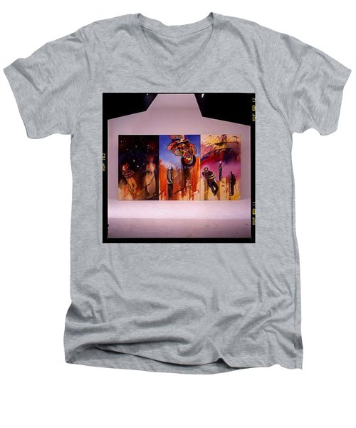 Men's V-Neck T-Shirt featuring the painting Love Hurts by Charles Stuart