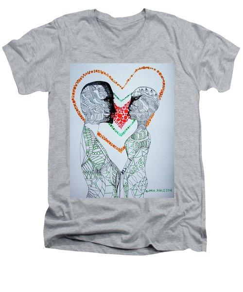 Love Is A Heart Men's V-Neck T-Shirt