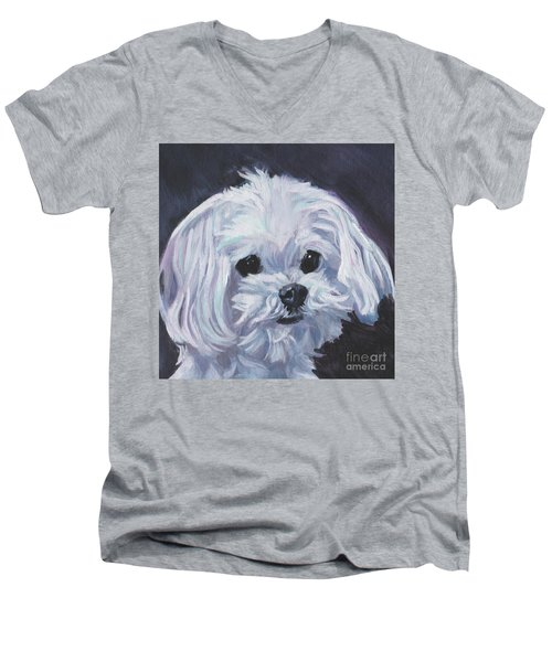 Men's V-Neck T-Shirt featuring the painting Maltese by Lee Ann Shepard