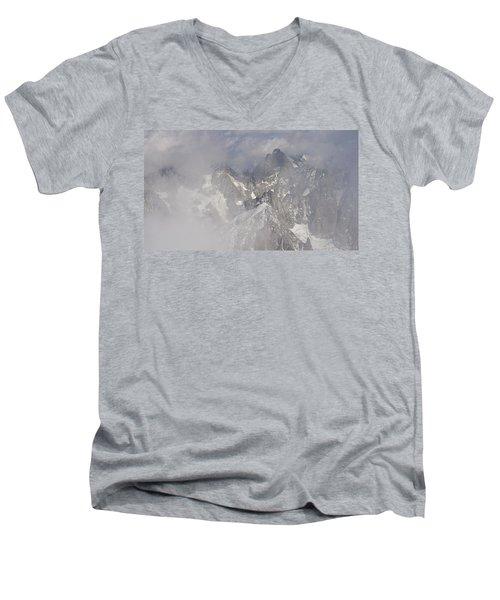 Mist At Aiguille Du Midi Men's V-Neck T-Shirt