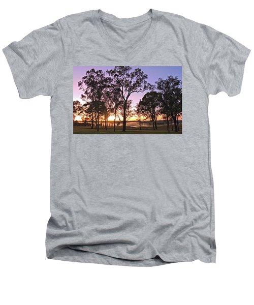 Misty Rural Scene With Dam And Trees Men's V-Neck T-Shirt