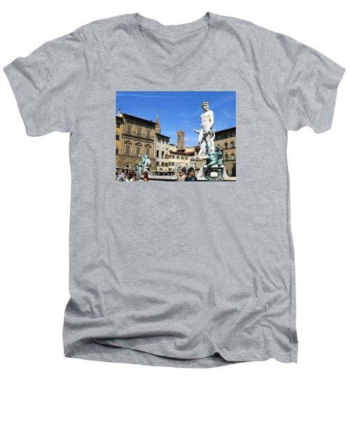 Neptune Fountain Florence Men's V-Neck T-Shirt by Lisa Boyd