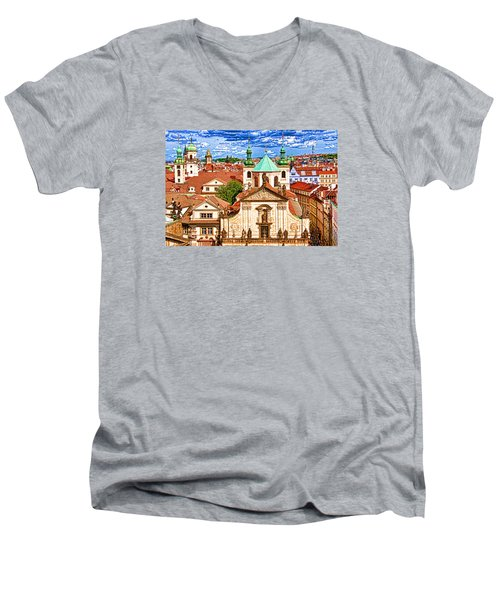 Old Town Prague Men's V-Neck T-Shirt by Dennis Cox WorldViews