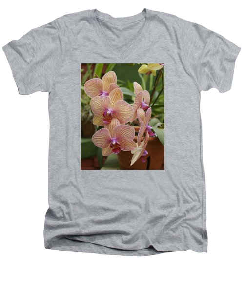 Men's V-Neck T-Shirt featuring the photograph Orchid by Christian Zesewitz