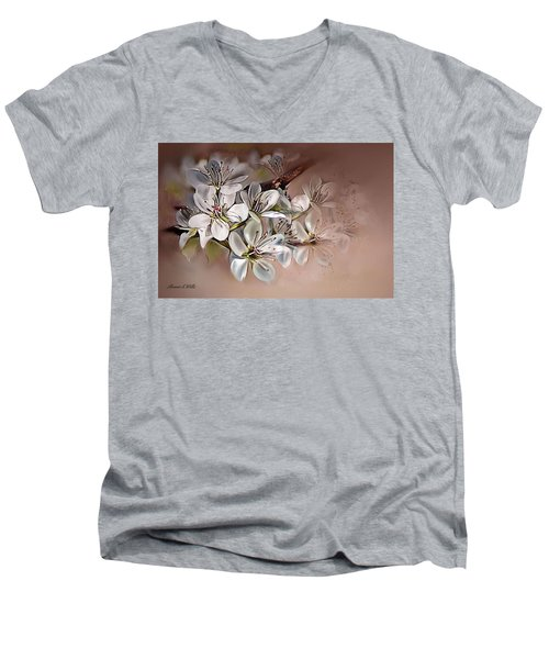 Men's V-Neck T-Shirt featuring the painting Oriental Pear Blossom by Bonnie Willis