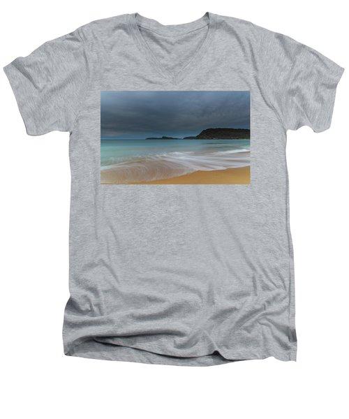 Overcast Cloudy Sunrise Seascape Men's V-Neck T-Shirt