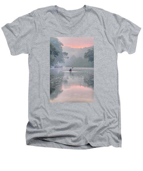 Paddling In Mist Men's V-Neck T-Shirt by Robert Charity