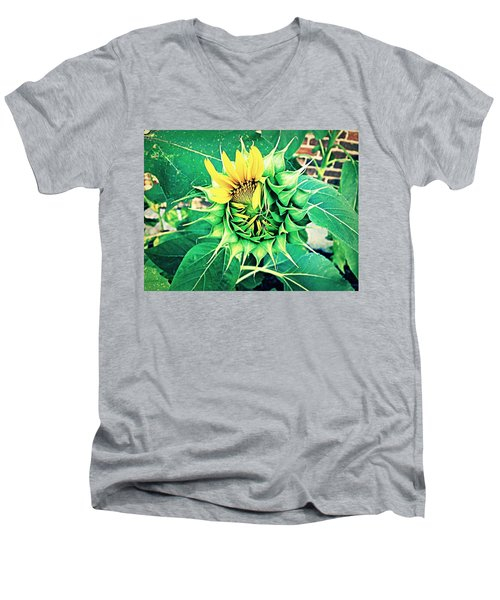 Men's V-Neck T-Shirt featuring the photograph Peeping Sunflower by Angela Annas