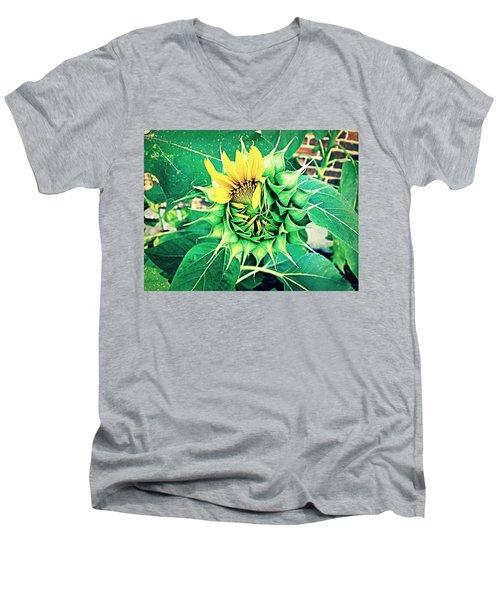 Peeping Sunflower Men's V-Neck T-Shirt by Angela Annas