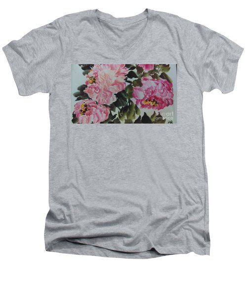 Men's V-Neck T-Shirt featuring the painting Peoney20161229_6 by Dongling Sun