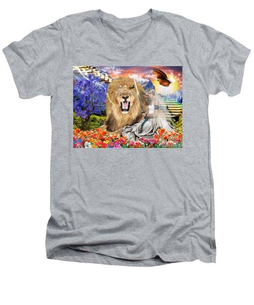 Perfect Peace Men's V-Neck T-Shirt by Dolores Develde