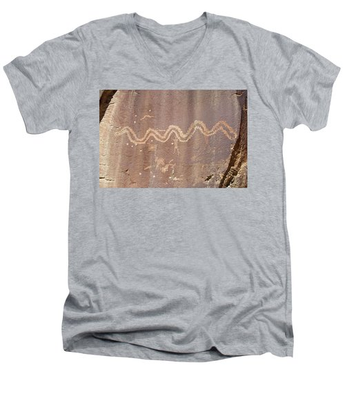 Men's V-Neck T-Shirt featuring the photograph Petroglyph - Fremont Indian by Breck Bartholomew