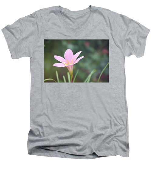 Pink Flower Men's V-Neck T-Shirt by Gordana Stanisic