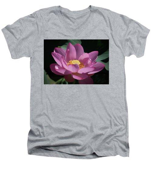 Pink Lotus Blossom Men's V-Neck T-Shirt