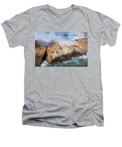 Point Lobos Concretions Men's V-Neck T-Shirt by Glenn Franco Simmons