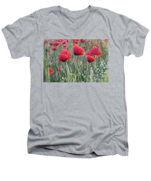 Poppy Flowers Men's V-Neck T-Shirt