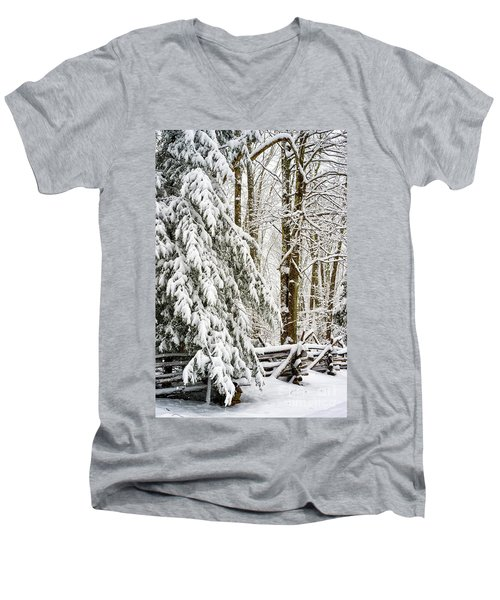 Men's V-Neck T-Shirt featuring the photograph Rail Fence And Snow by Thomas R Fletcher