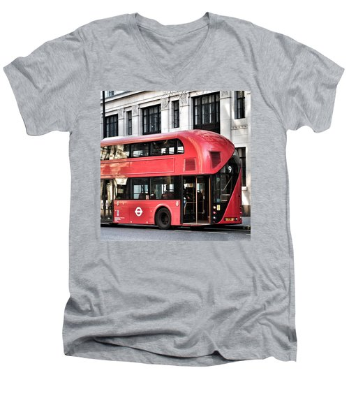 Red Bus In London  Men's V-Neck T-Shirt