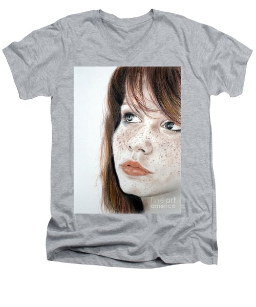 Red Hair And Freckled Beauty Men's V-Neck T-Shirt