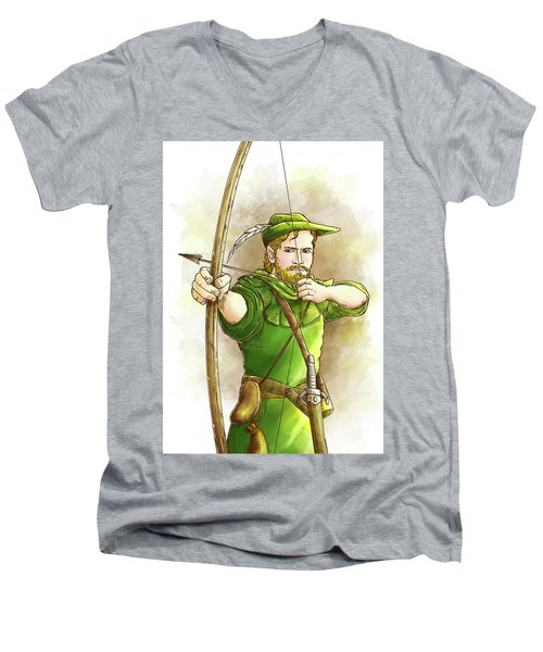 Robin Hood The Legend Men's V-Neck T-Shirt by Reynold Jay