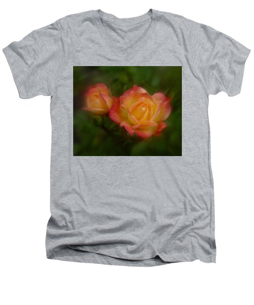 Men's V-Neck T-Shirt featuring the photograph 2 Roses by Richard Cummings