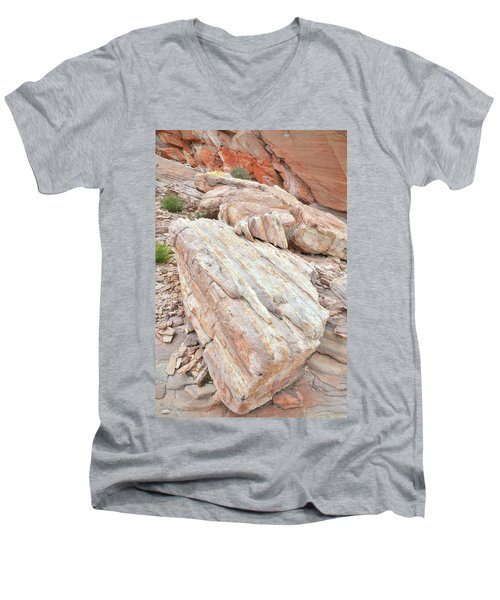 Men's V-Neck T-Shirt featuring the photograph Sandstone Slope In Valley Of Fire by Ray Mathis