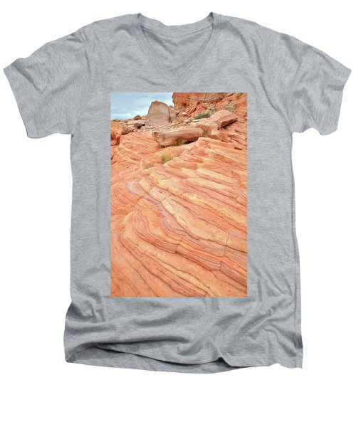 Men's V-Neck T-Shirt featuring the photograph Sandstone Swirls In Valley Of Fire by Ray Mathis