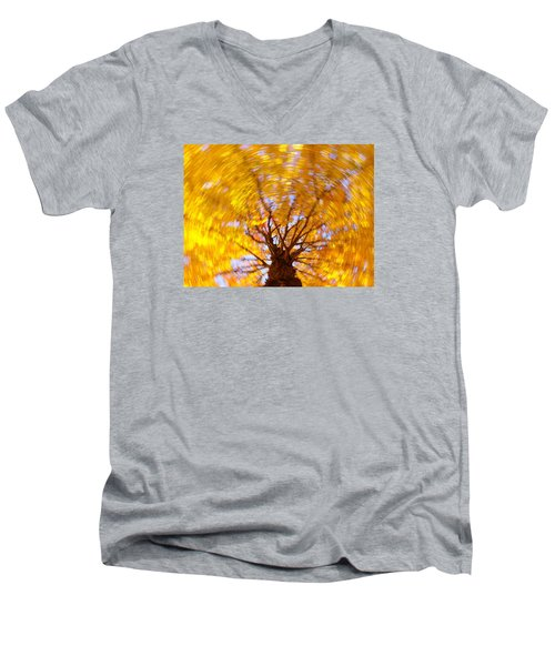 Spinning Maple Men's V-Neck T-Shirt by Bernhart Hochleitner