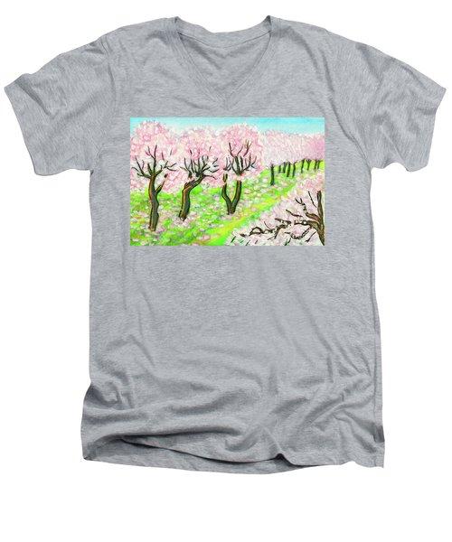 Spring Garden, Painting Men's V-Neck T-Shirt by Irina Afonskaya