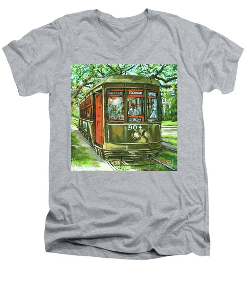 Men's V-Neck T-Shirt featuring the painting St. Charles No. 904 by Dianne Parks