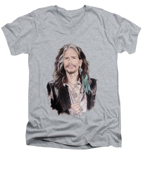 Steven Tyler  Men's V-Neck T-Shirt by Melanie D