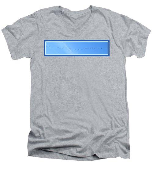 String Of Birds In Blue Men's V-Neck T-Shirt