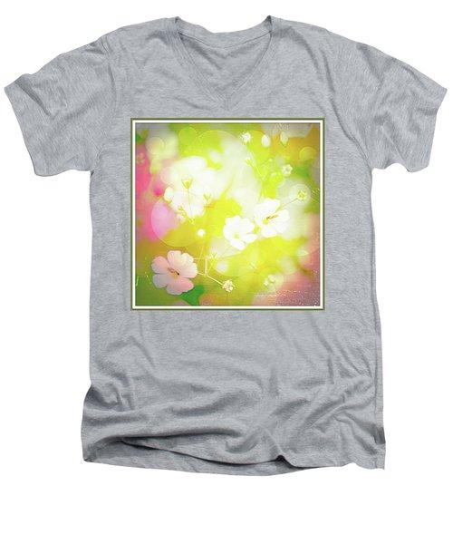 Summer Flowers, Baby's Breath, Digital Art Men's V-Neck T-Shirt