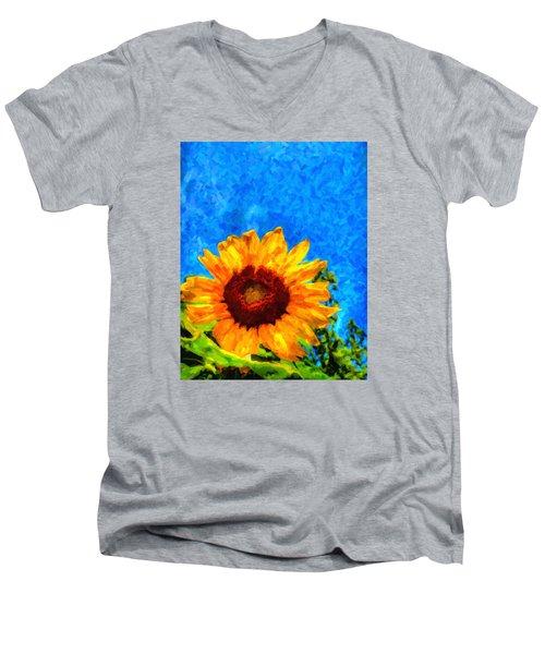 Sunflower  Men's V-Neck T-Shirt by Andre Faubert