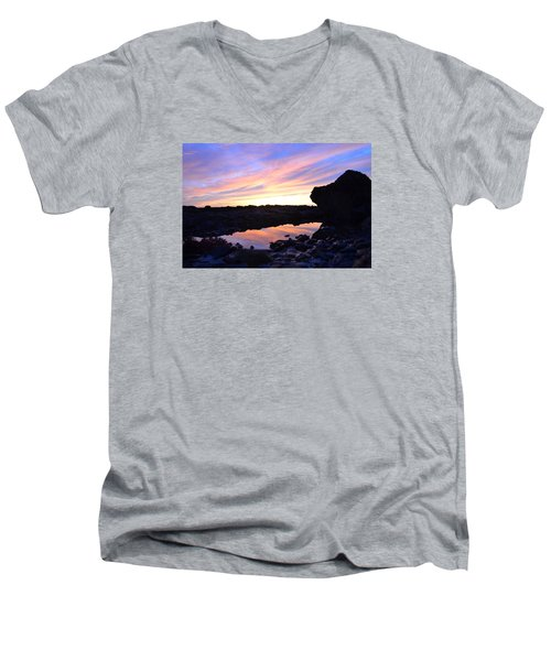 Men's V-Neck T-Shirt featuring the photograph Sunset by Alex King