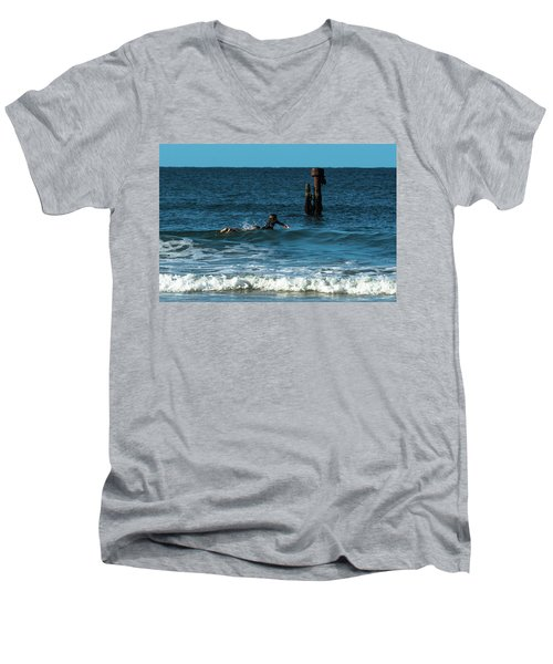 Surfing At  Men's V-Neck T-Shirt