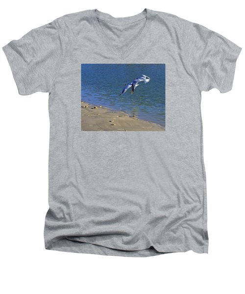 Men's V-Neck T-Shirt featuring the photograph 2 Terns In Flight by Robb Stan
