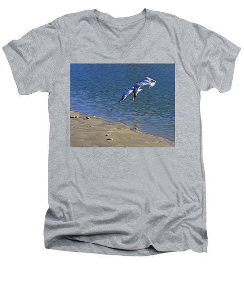 2 Terns In Flight Men's V-Neck T-Shirt