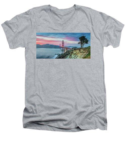 The Golden Gate Men's V-Neck T-Shirt by JR Photography