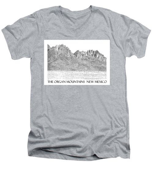 Men's V-Neck T-Shirt featuring the painting The Organ Mountains by Jack Pumphrey