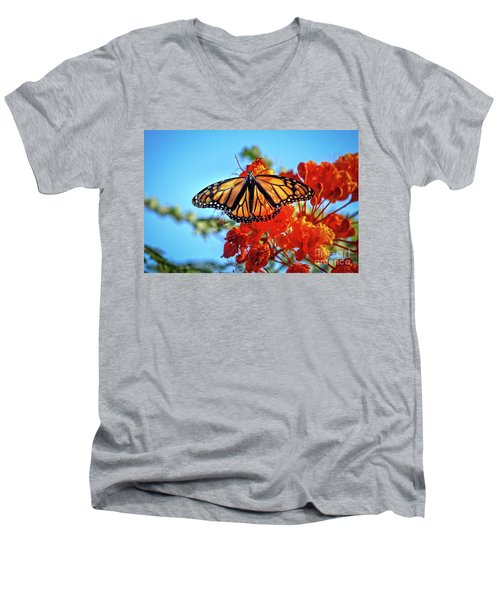 The Resting Monarch Men's V-Neck T-Shirt by Robert Bales