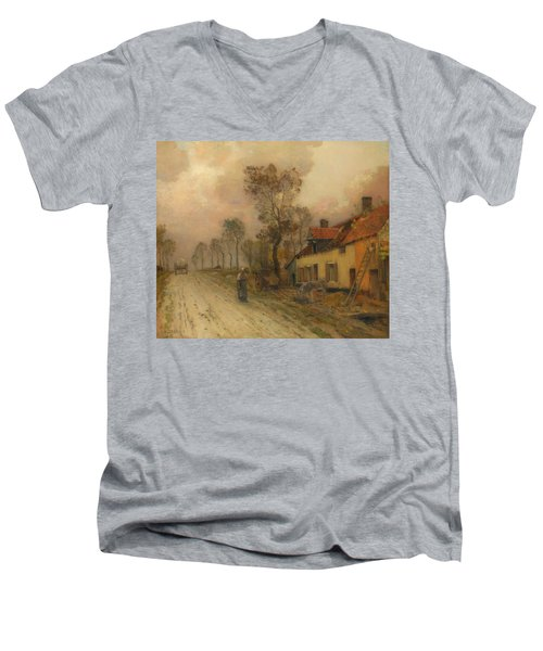 Men's V-Neck T-Shirt featuring the painting The Route Nationale At Samer by Jean-Charles Cazin