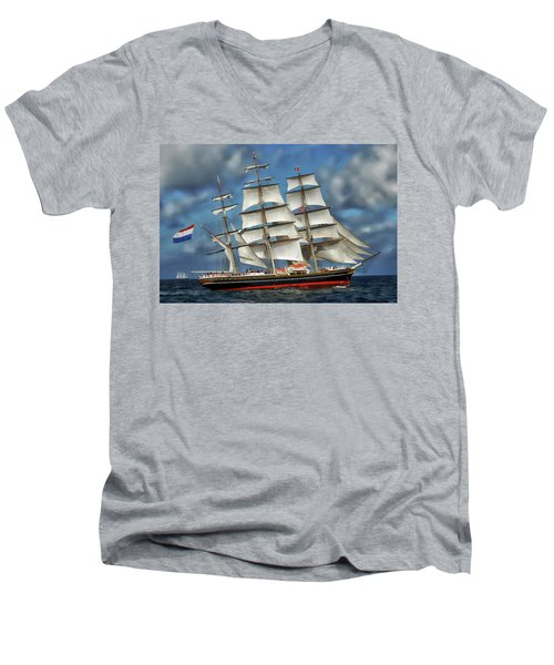 Three Mast Schooner Men's V-Neck T-Shirt