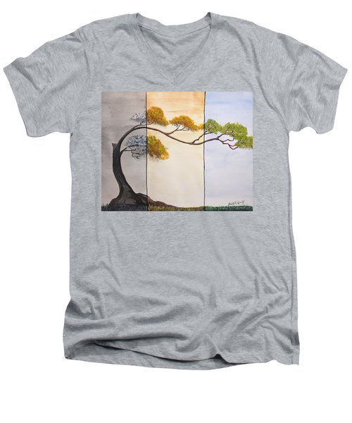 Men's V-Neck T-Shirt featuring the painting Time After Time by Edwin Alverio