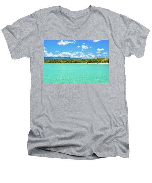 Tortuga Bay Beach At Santa Cruz Island In Galapagos  Men's V-Neck T-Shirt by Marek Poplawski