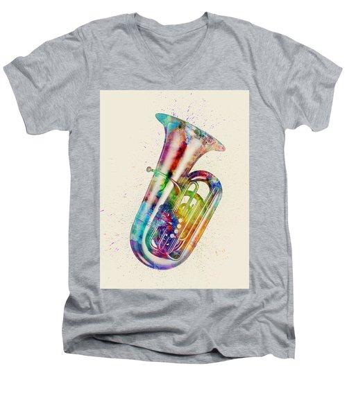 Tuba Abstract Watercolor Men's V-Neck T-Shirt